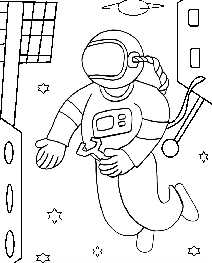 astronaut coloring for kids royalty free spaceship kids coloring page clip art vector astronaut for kids coloring