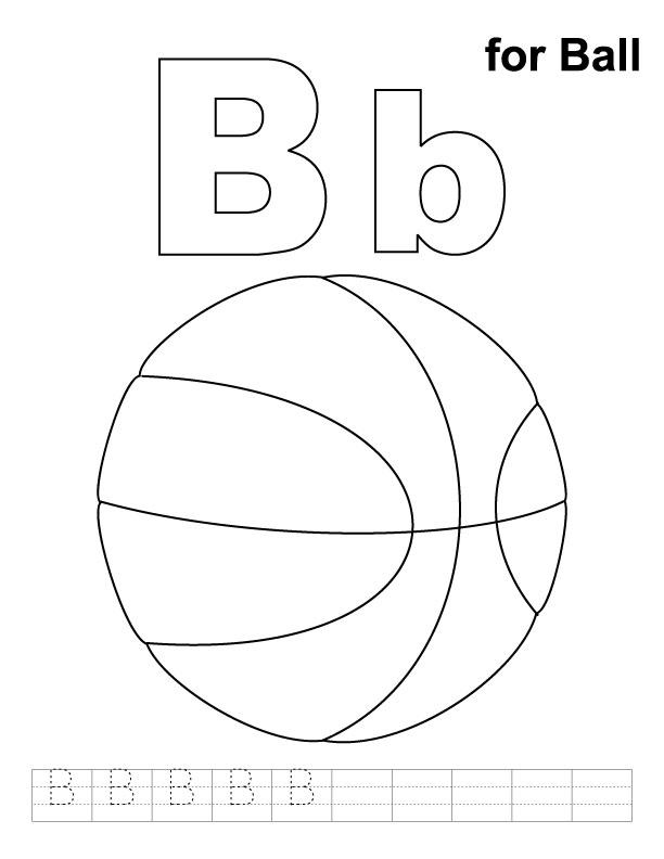 b is for ball coloring page learning letter b in the alphabet playing learning ball for coloring page b is