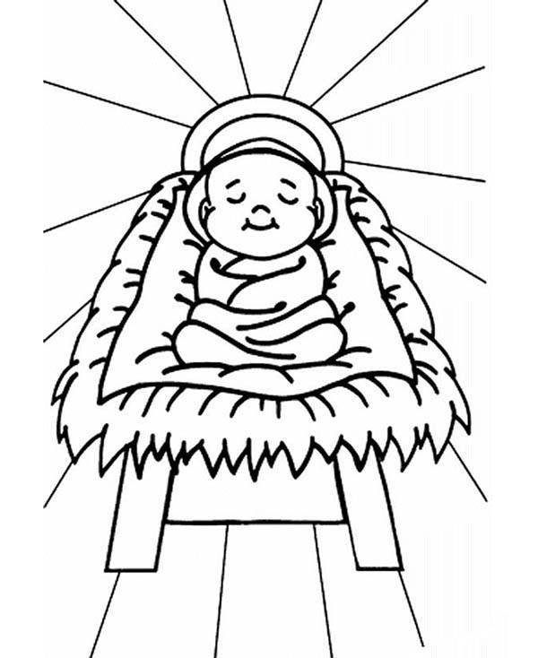 baby jesus in manger coloring page baby jesus sleep in a manger coloring page kids play color coloring manger page jesus baby in