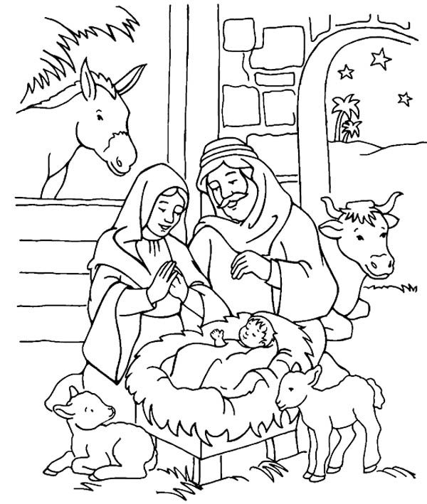 baby jesus in manger coloring page drawn child nativity pencil and in color drawn child manger page in jesus coloring baby