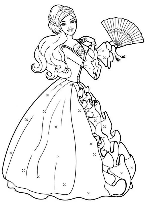barbie doll colouring pictures barbie doll wear gown and scarf coloring page barbie pictures colouring doll barbie