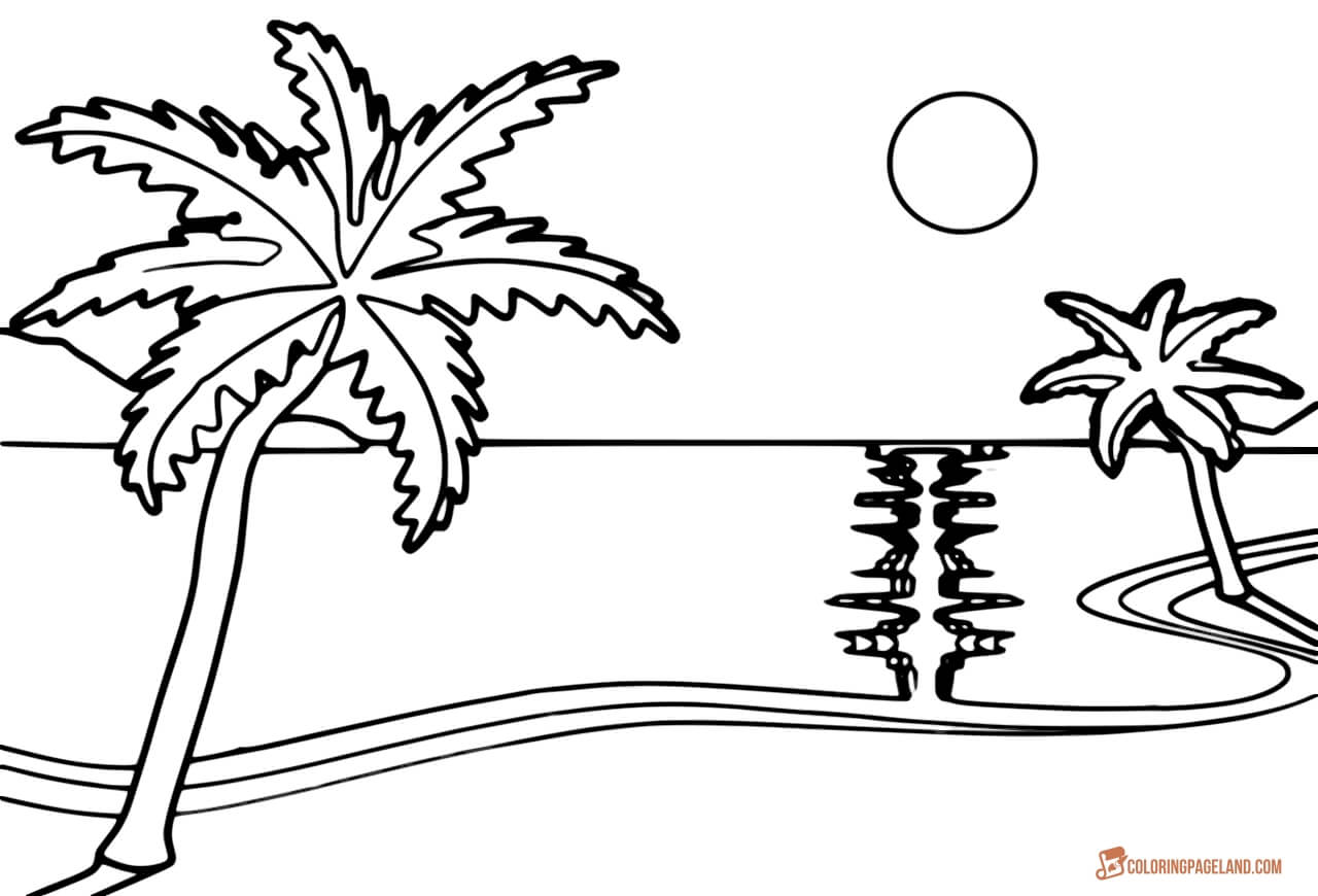 Beach coloring template