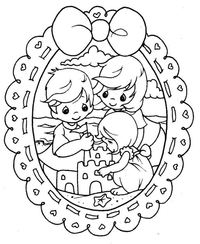 Beach precious moments coloring pages