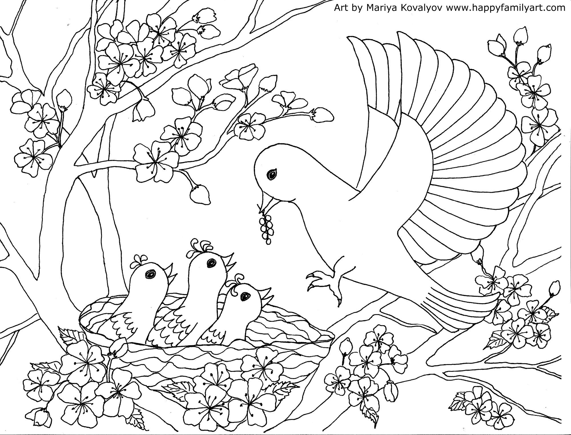 bird color pages birds coloring page happy family art bird color pages