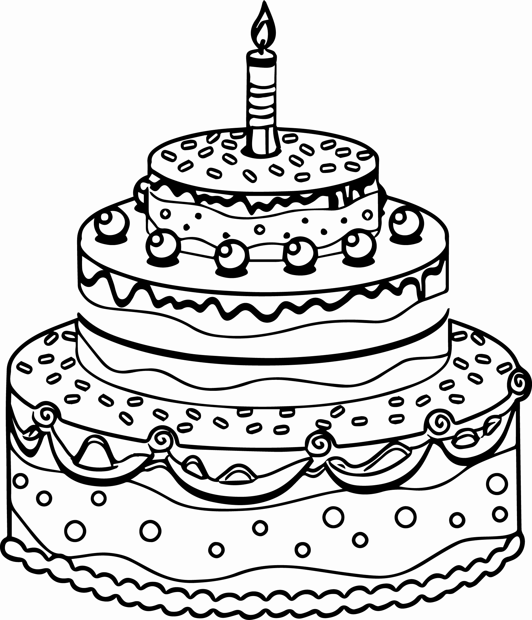 Birthday cake pictures to color free