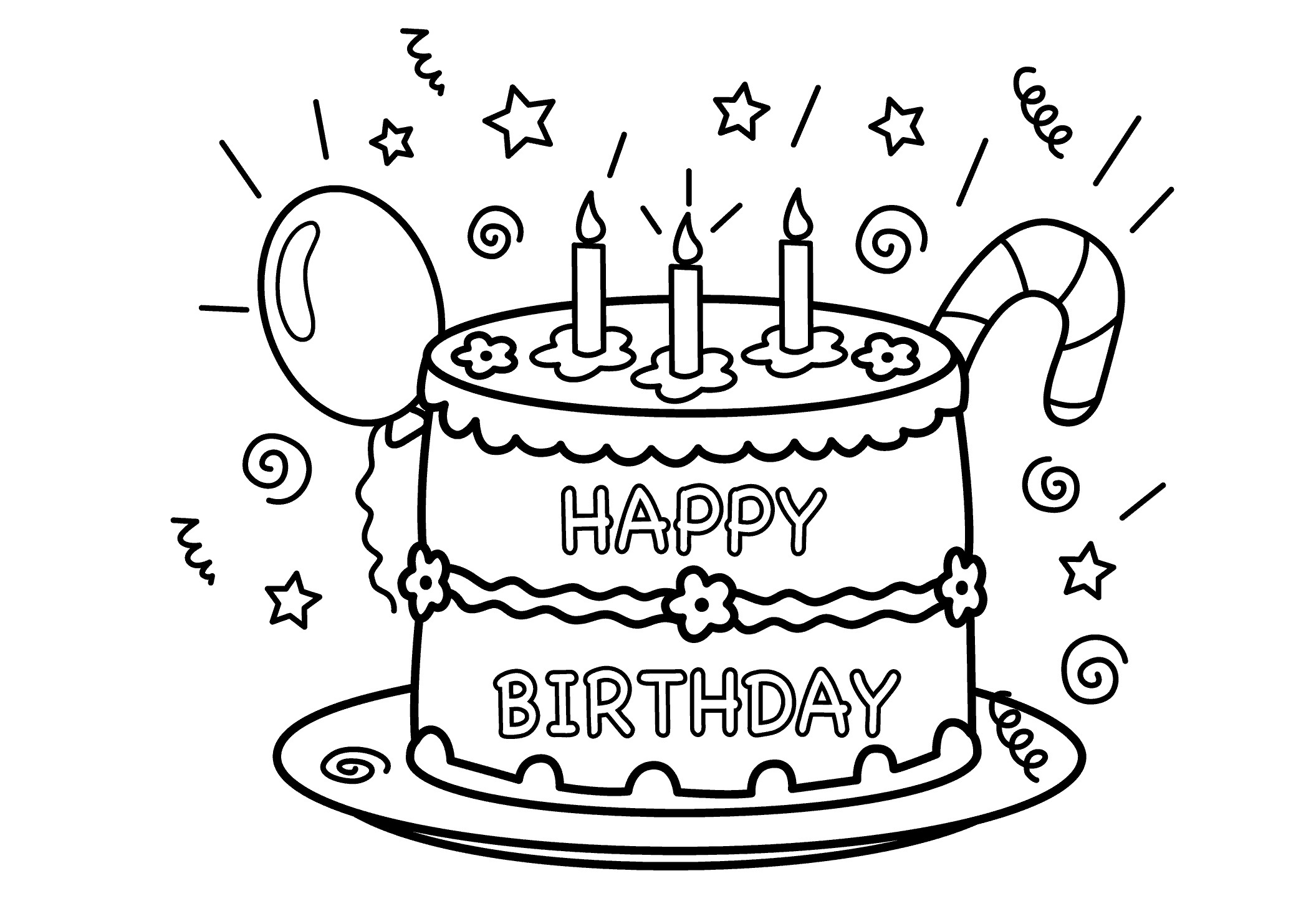birthday cake pictures to color free free printable birthday cake coloring pages for kids birthday color free pictures to cake