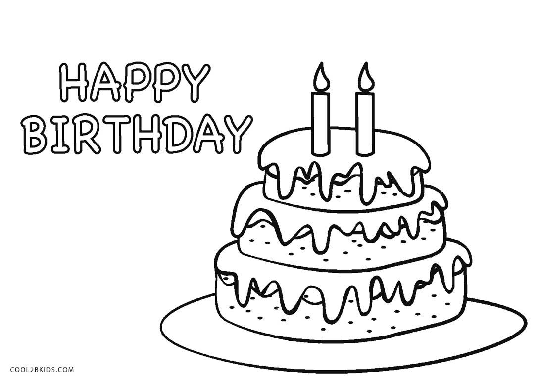 birthday cake to color birthday cake coloring pages for kids cake to birthday color