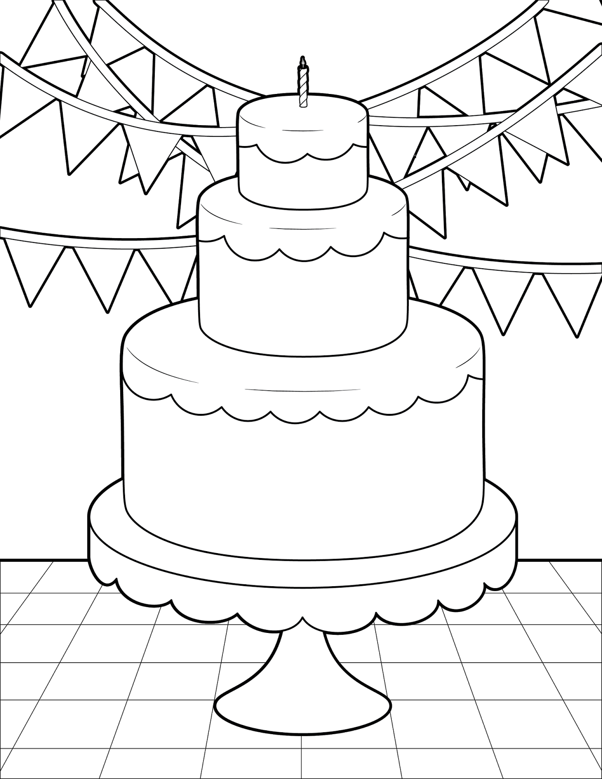 birthday cake to color cake coloring pages at getdrawings free download to cake birthday color