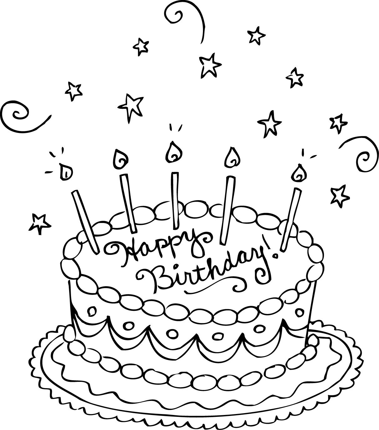birthday cake to color slice of cake drawing at getdrawings free download birthday color to cake