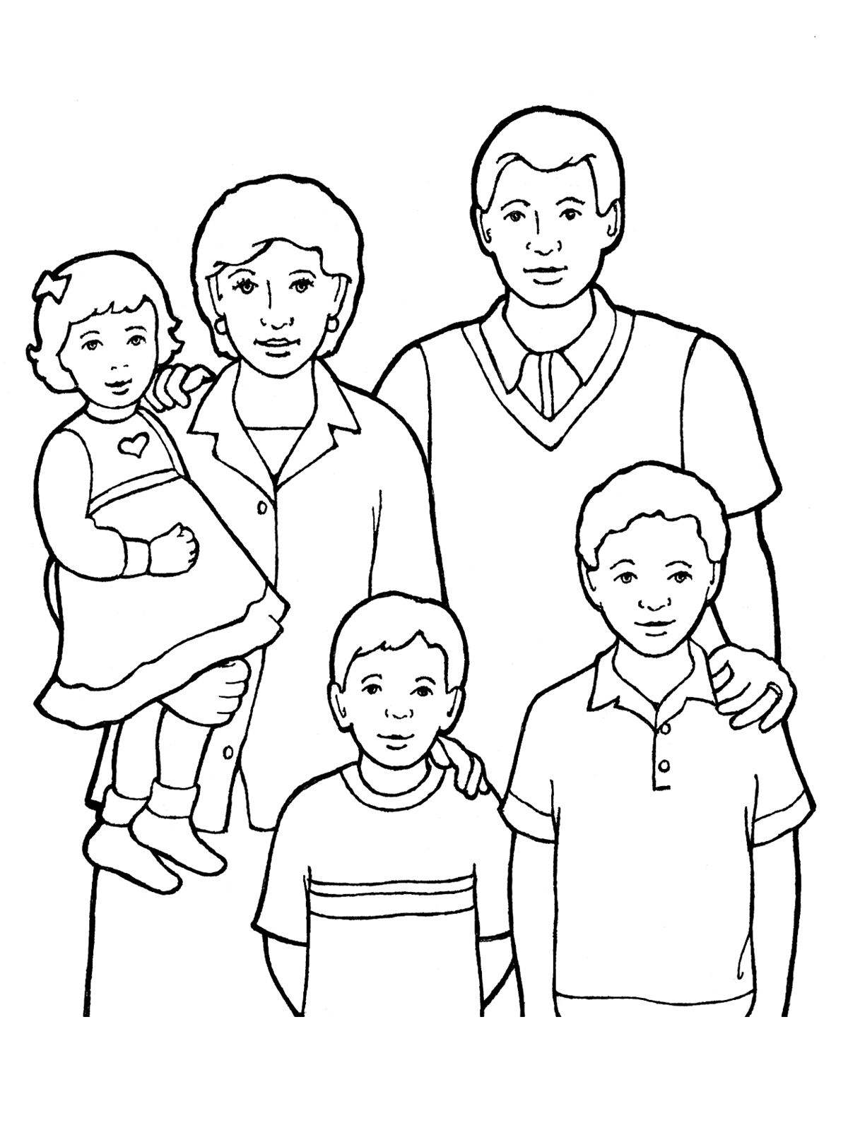 black family coloring pages family of five standing together black pages coloring family