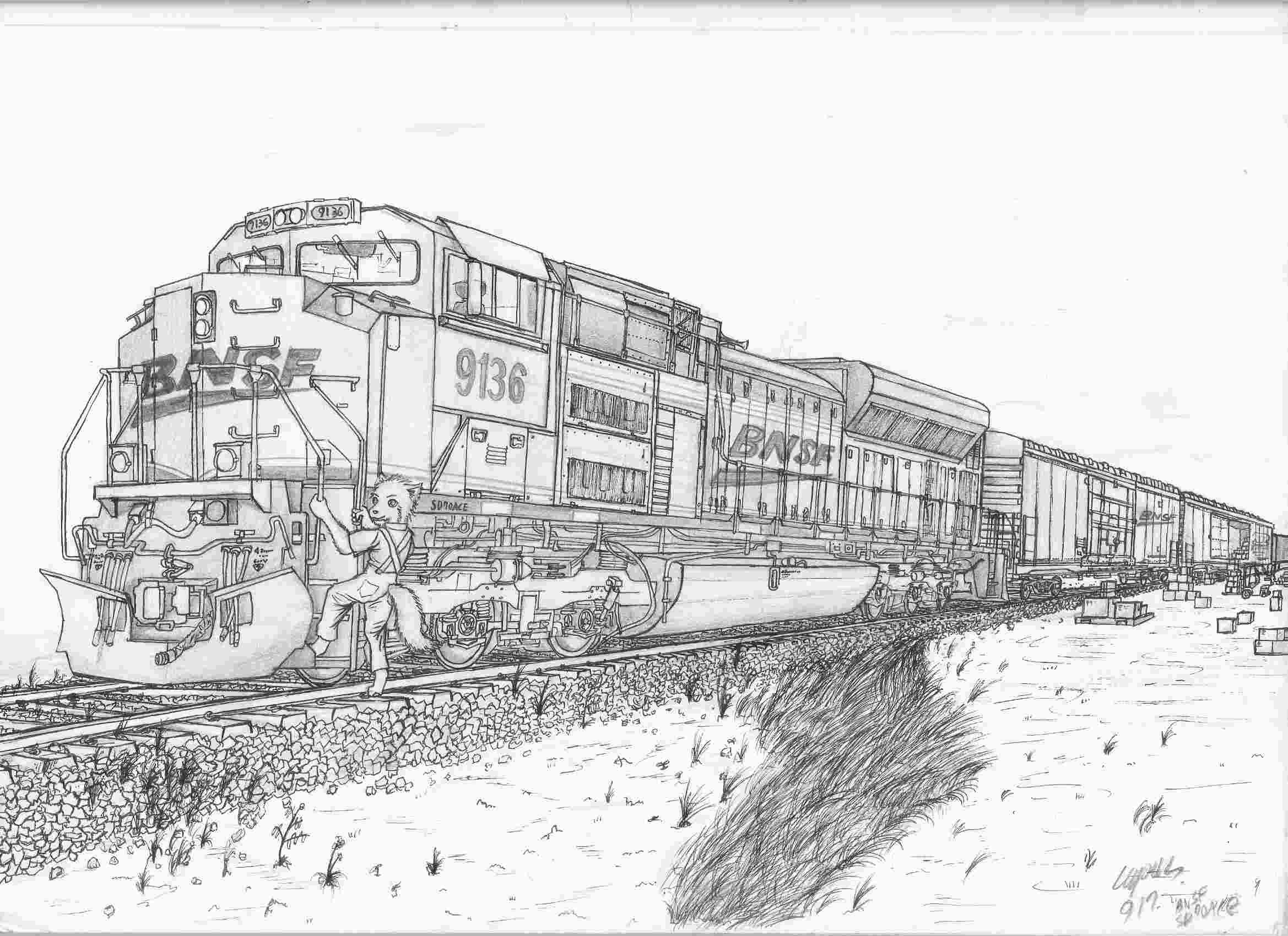 Bnsf train coloring pages
