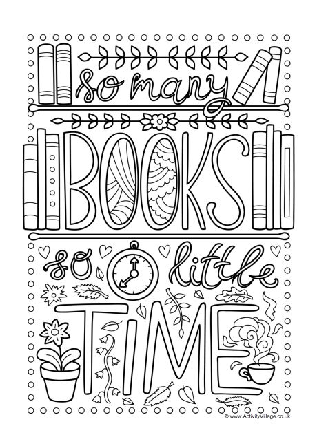 book coloring pages so many books so little time colouring page pages coloring book