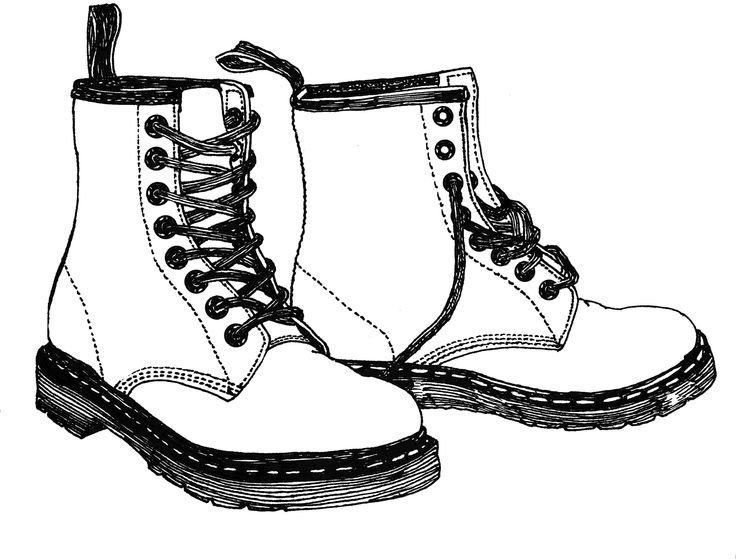 boot draw hand drawn sketch of boot in black isolated detailed draw boot