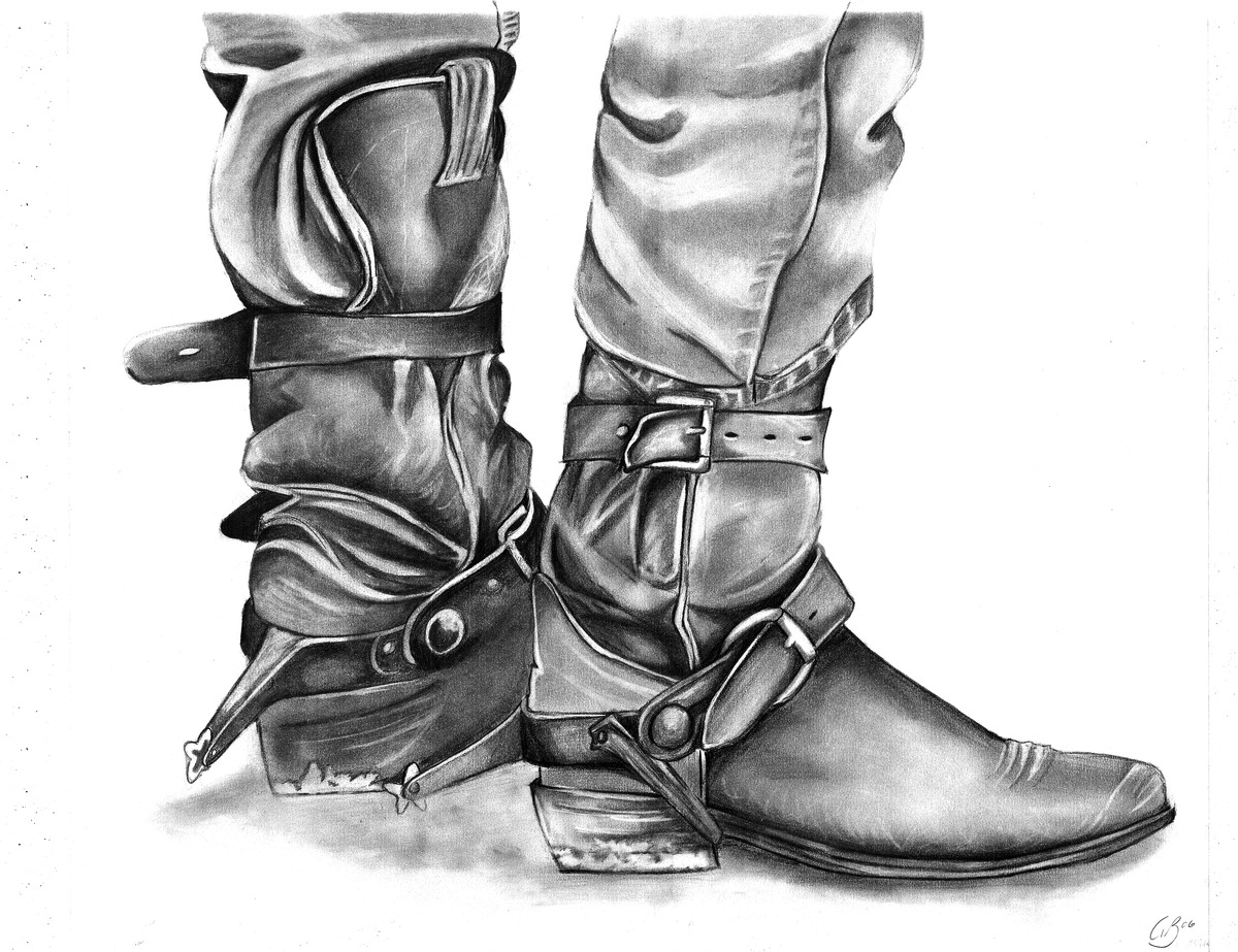 boot draw vector sketch illustration high leather army boots front draw boot