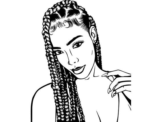 boxy girl coloring pages afro woman svg dreads nubian princess queen hair beautiful boxy coloring girl pages