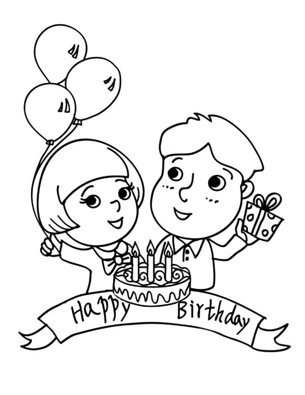 boy birthday coloring pages birthday boy holding three balloons and present coloring boy birthday pages coloring