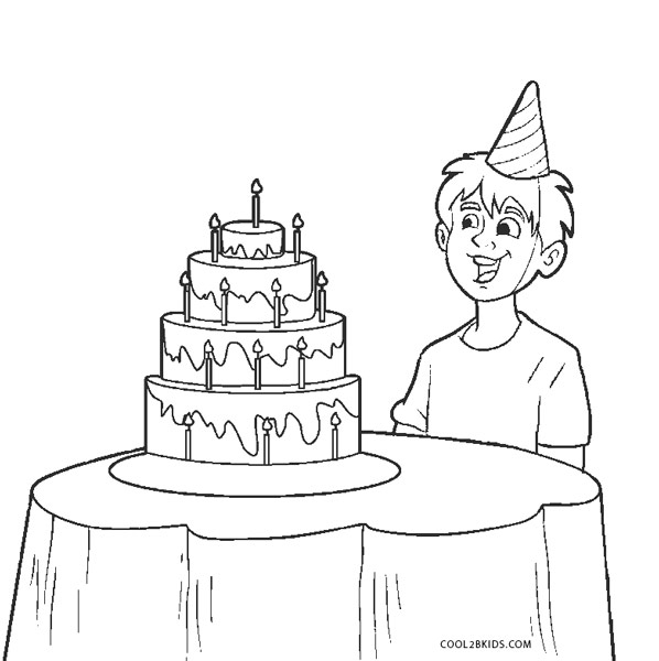 boy birthday coloring pages boy with a birthday cake coloring pages hellokidscom pages birthday coloring boy
