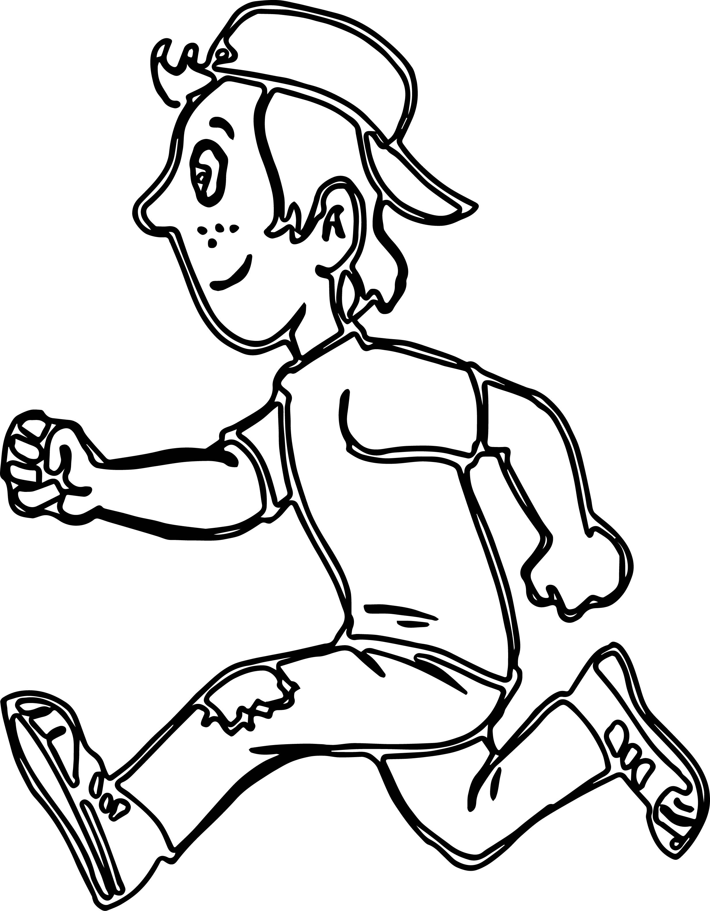 boy running coloring page cartoon clipart of a black and white boy running vector running boy coloring page