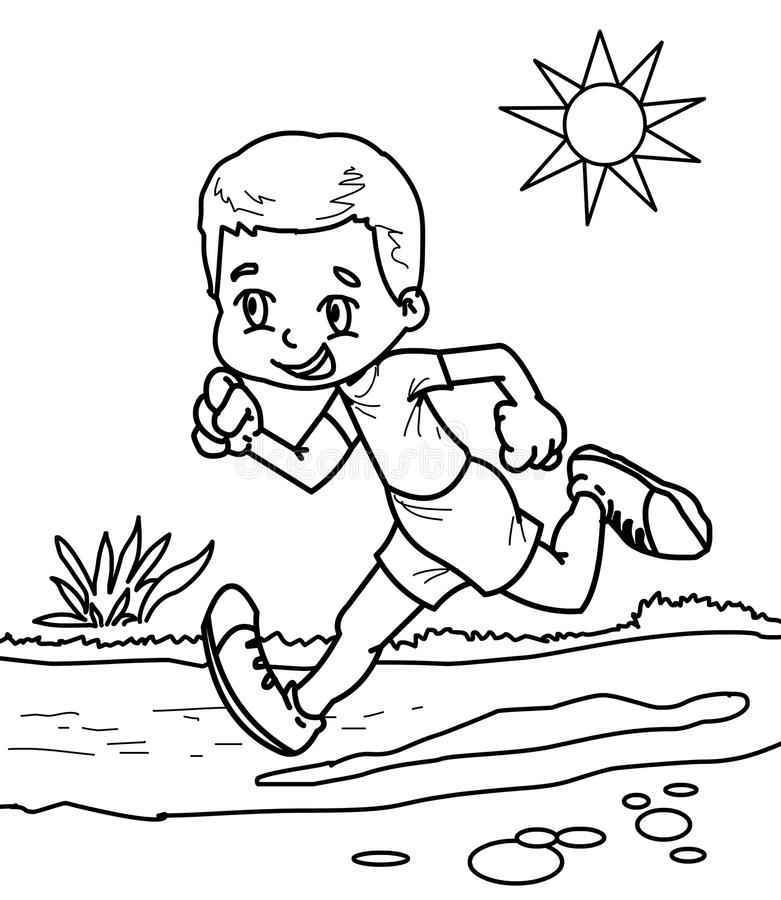boy running coloring page coloring page of cartoon boy running marathon winner stock page running boy coloring