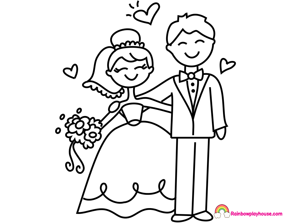 bride and groom coloring pages bride and groom coloring page free printable coloring pages coloring groom pages and bride