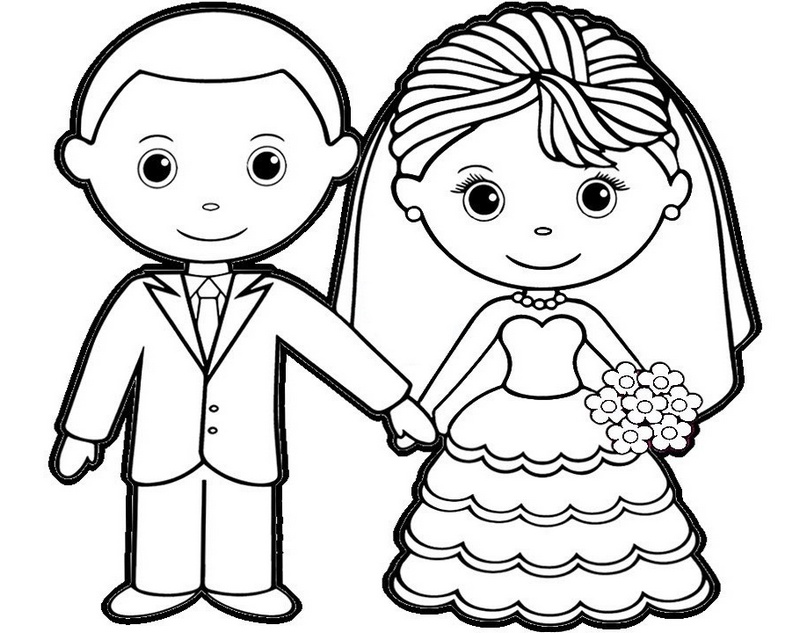 Bride and groom pictures to colour in