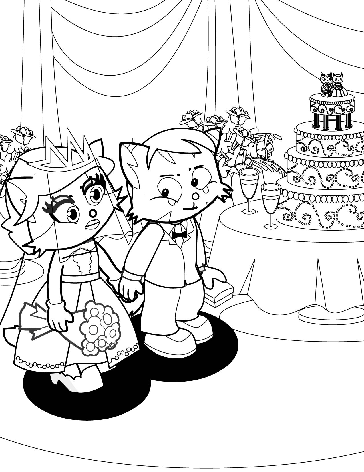 bride and groom pictures to colour in bride groom coloring page at getcoloringscom free and pictures bride in to colour groom