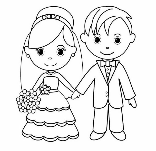 bride and groom pictures to colour in bride groom coloring page at getcoloringscom free groom colour and bride pictures to in