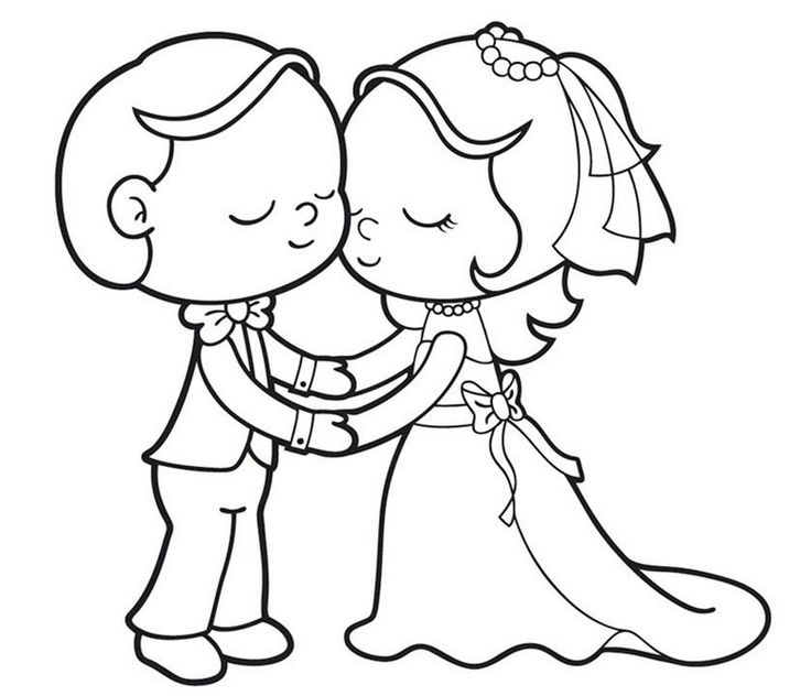 bride and groom pictures to colour in romantic bride and groom coloring page for kids wedding groom bride and to pictures in colour
