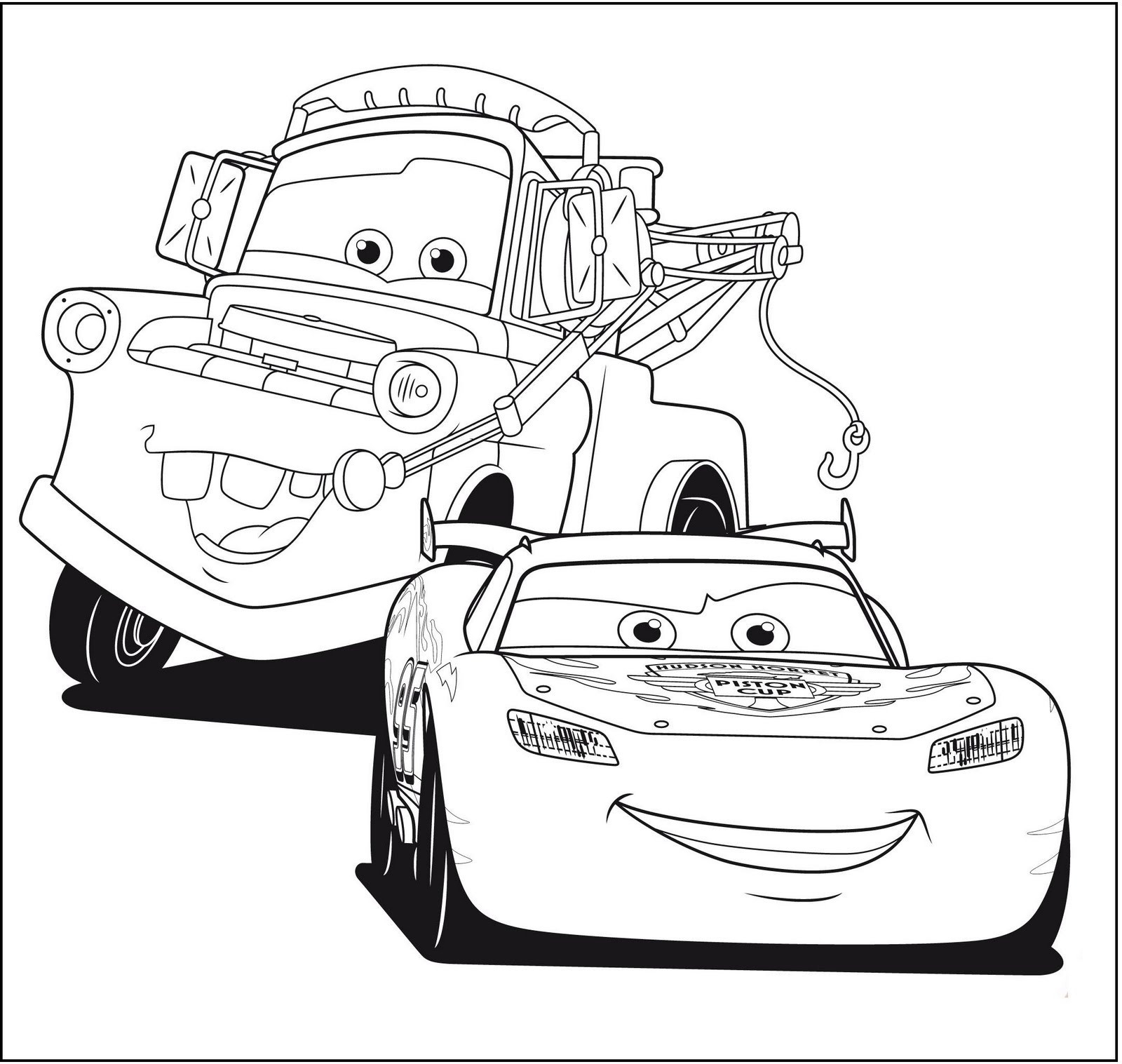 Cars movie colouring pages