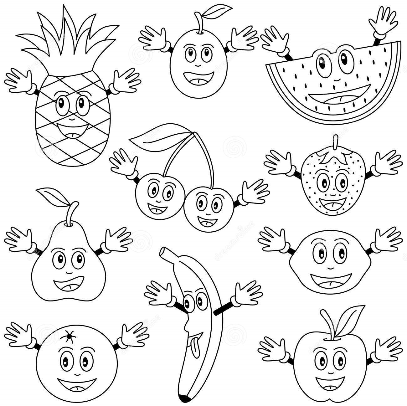 cartoon fruit coloring pages cartoons drawing for kids at getdrawings free download cartoon coloring fruit pages