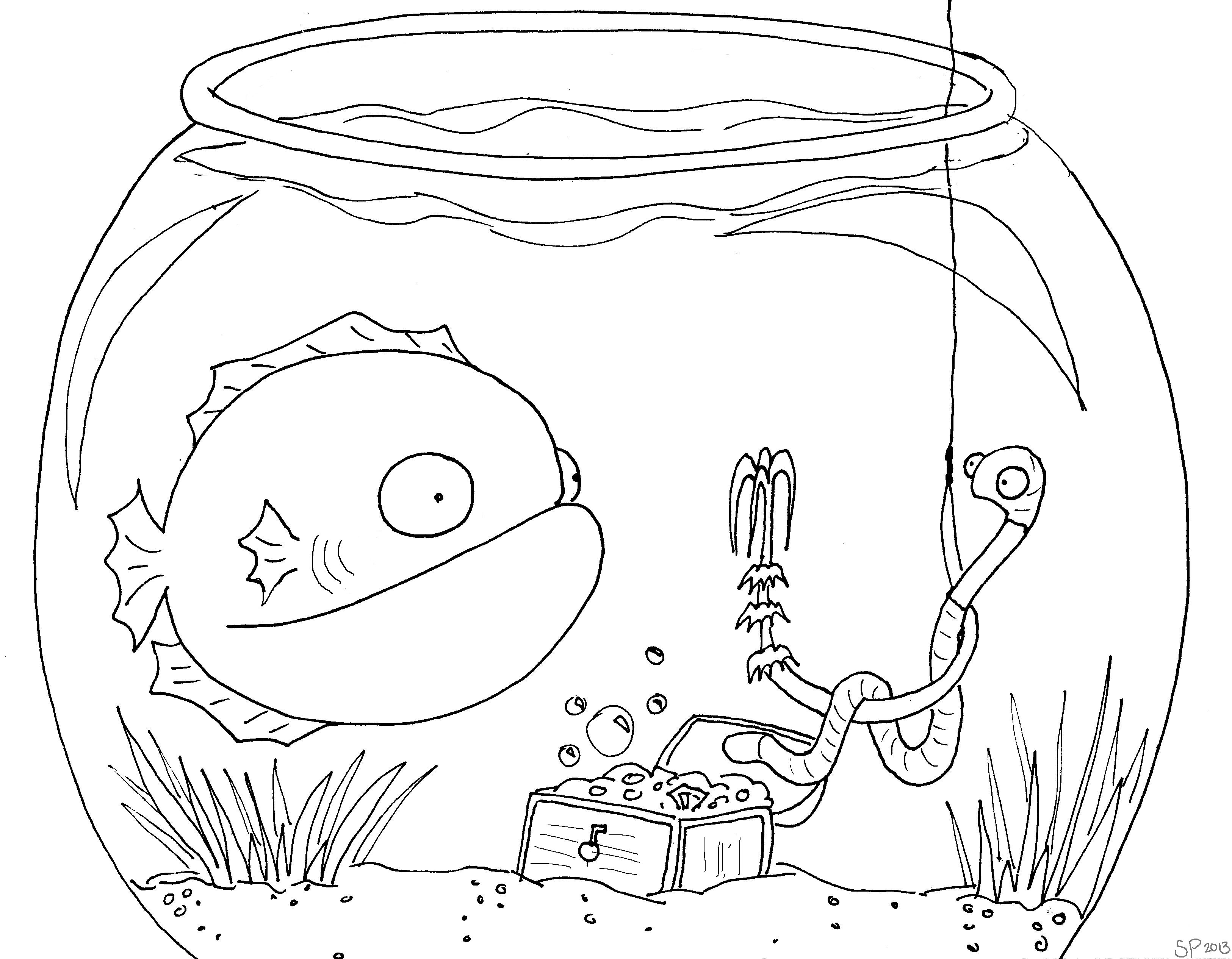Cartoon underwater coloring pages
