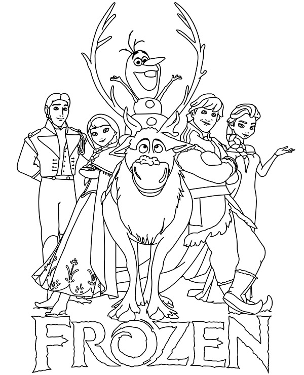 character coloring pages logo and main characters frozen coloring pages for children character coloring pages