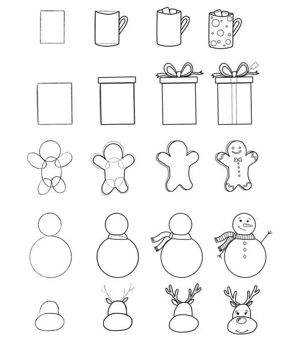 christmas drawings step by step christmas tree line drawing clipartsco christmas step step drawings by