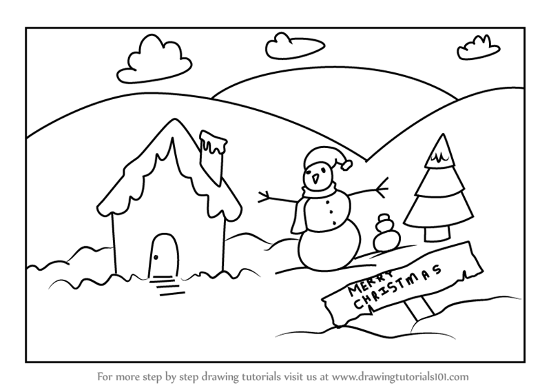 christmas drawings step by step learn how to draw chirstmas scenery christmas step by step drawings step christmas by