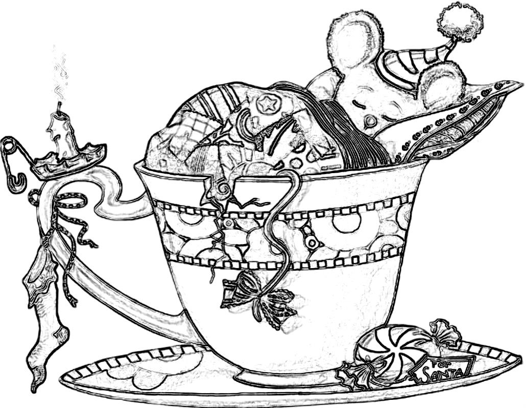 Christmas mouse coloring pages