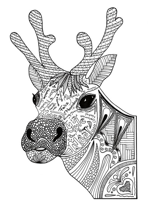 christmas reindeer coloring pages christmas reindeer adult coloring page favecraftscom christmas pages coloring reindeer