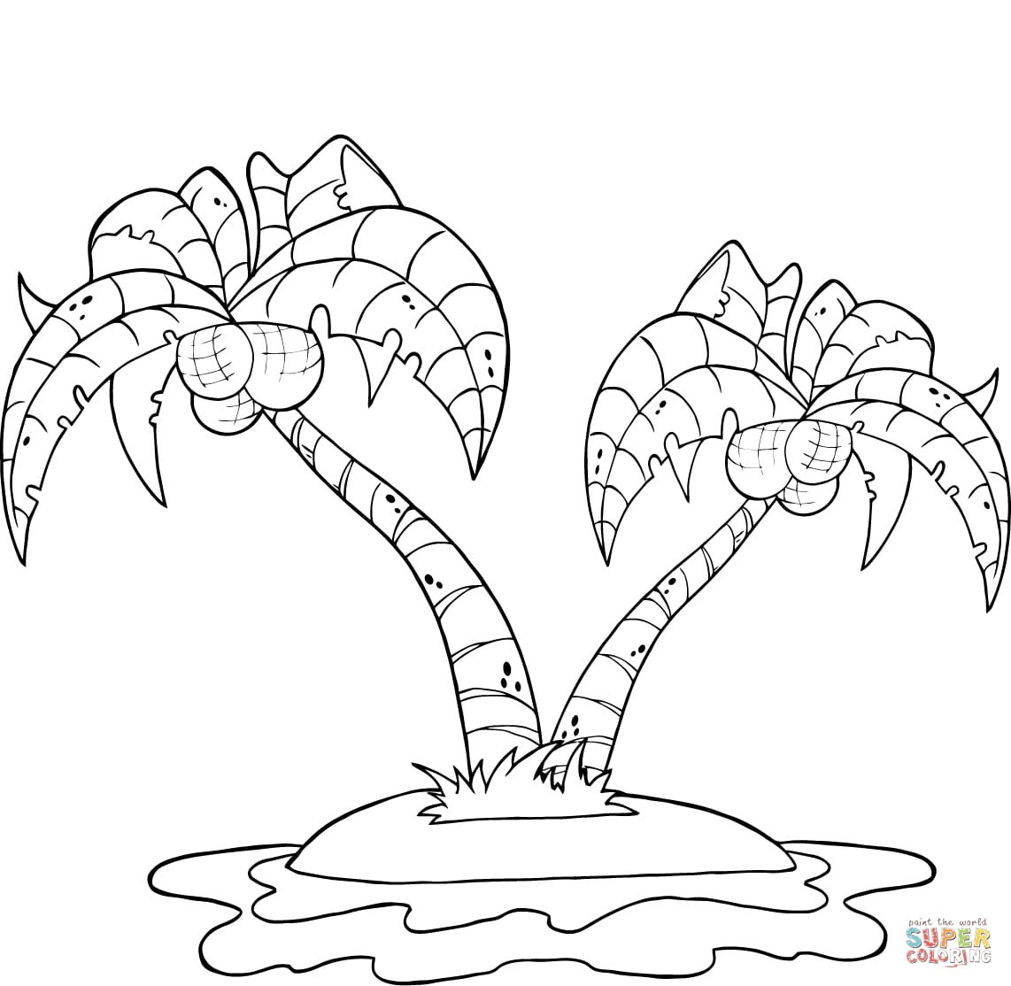 coconut tree coloring coconut tree drawing at getdrawings free download coloring coconut tree