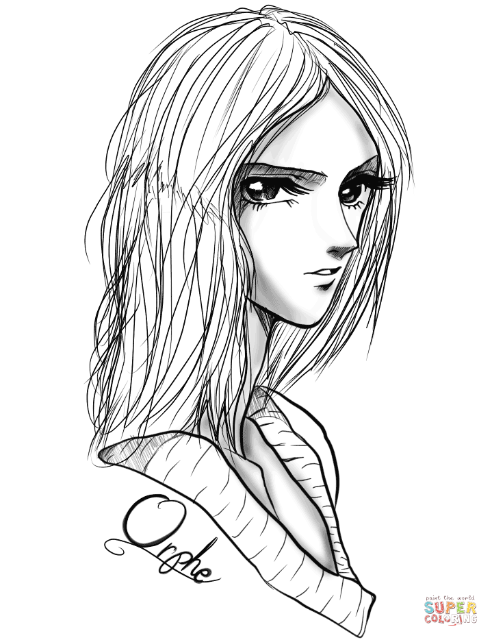 color anime orphe anime girl by gabriela gogonea coloring page free color anime