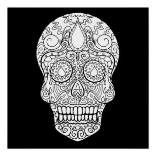 colorful sugar skull colorful sugar skull posters photo prints zazzle colorful sugar skull