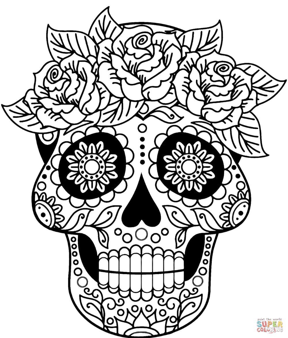 colorful sugar skull sugar skull coloring page free printable coloring pages colorful skull sugar