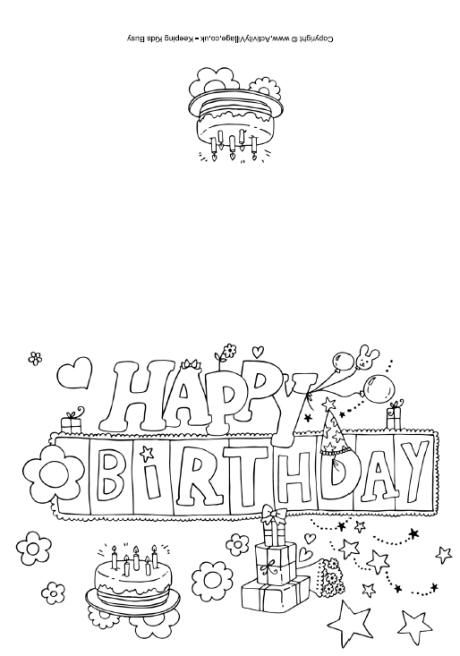 coloring birthday card template birthday cards to color happy birthday cards printable birthday template card coloring