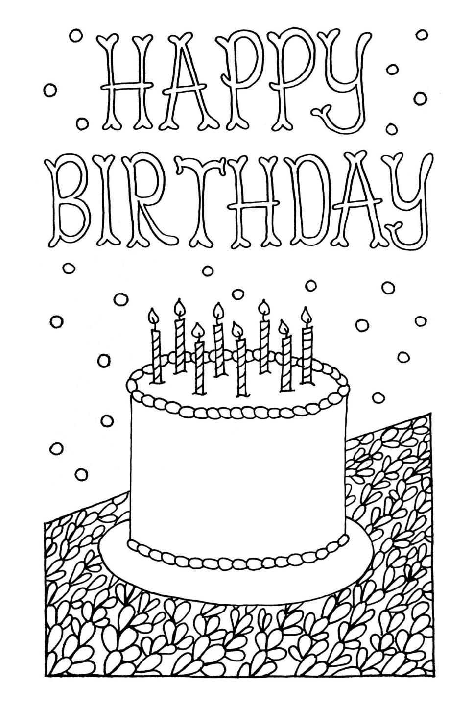 Coloring birthday card template