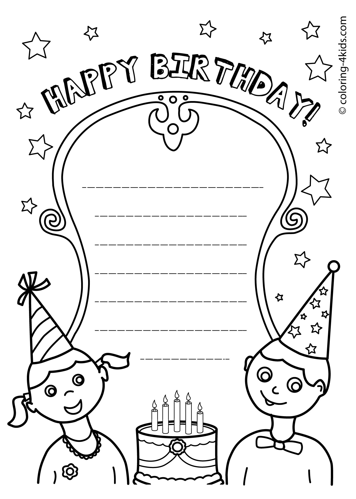 coloring birthday card template happy birthday colouring card birthday coloring pages template card birthday coloring