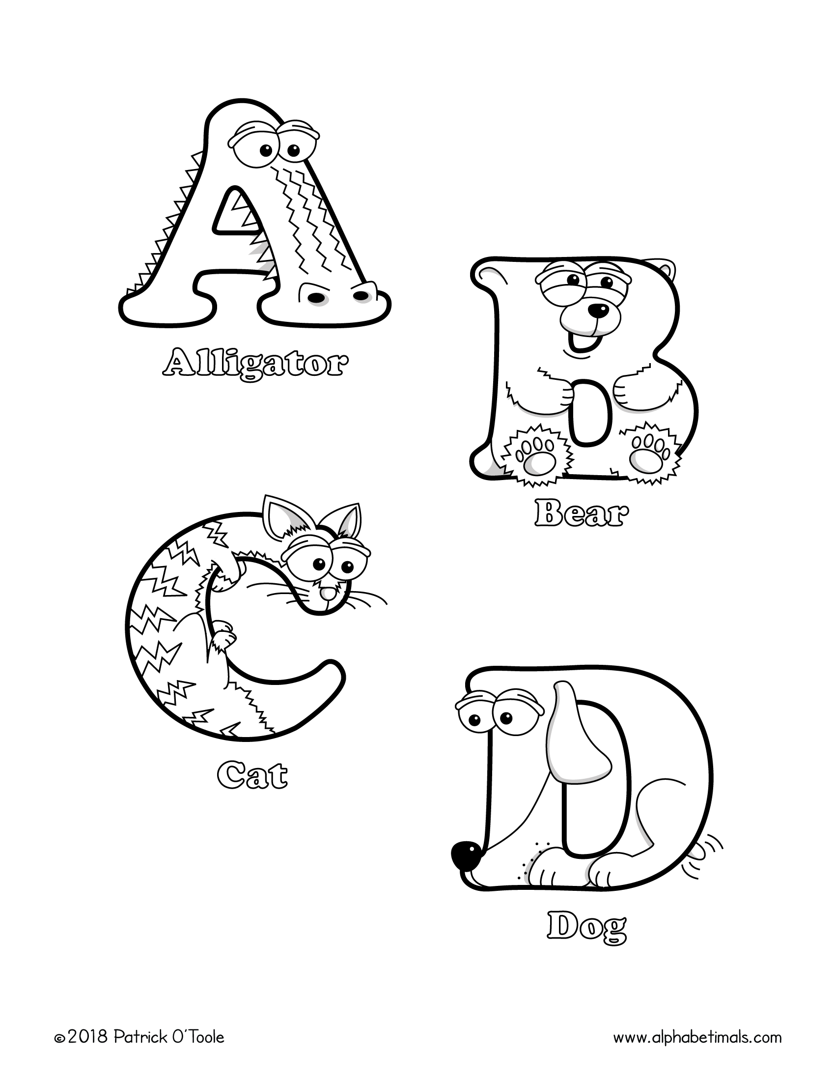 coloring book alphabet printable coloring pages uppercase letters animals coloring book alphabet