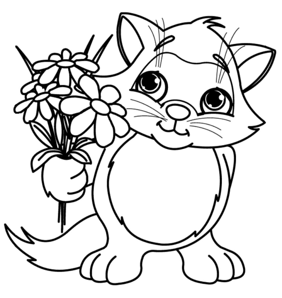 coloring cat pages cute cat with flowers coloring page free printable pages cat coloring