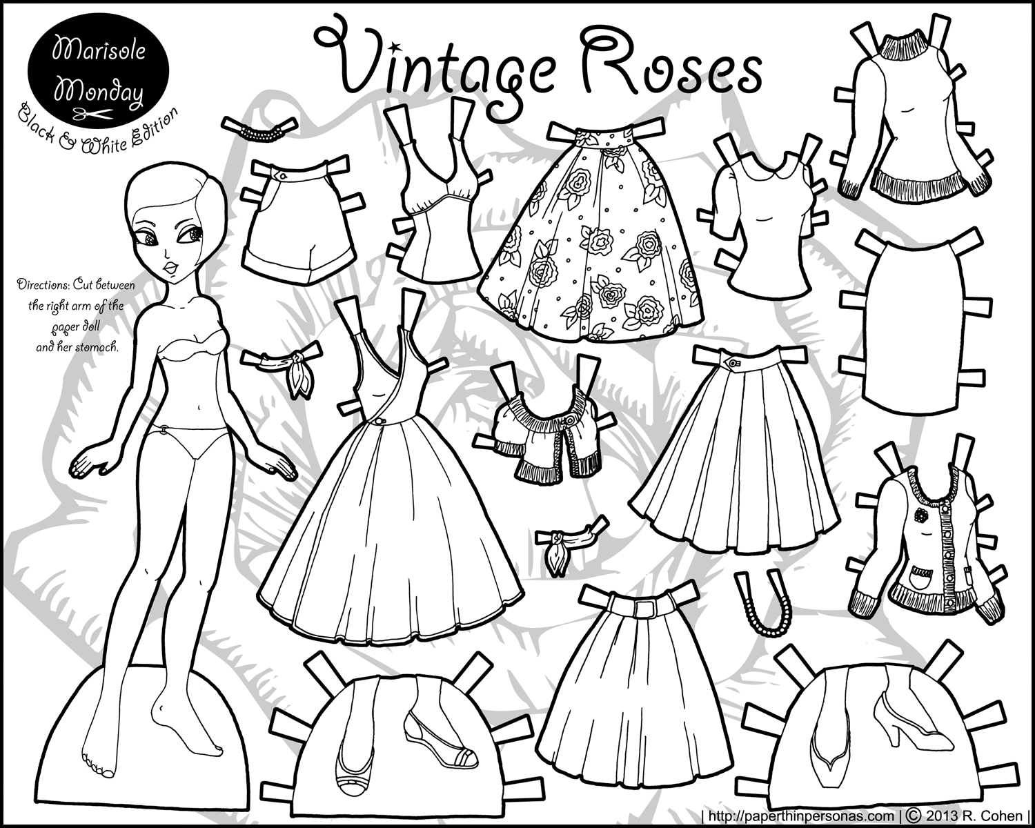 coloring doll print marisole monday vintage roses paper doll template doll print coloring