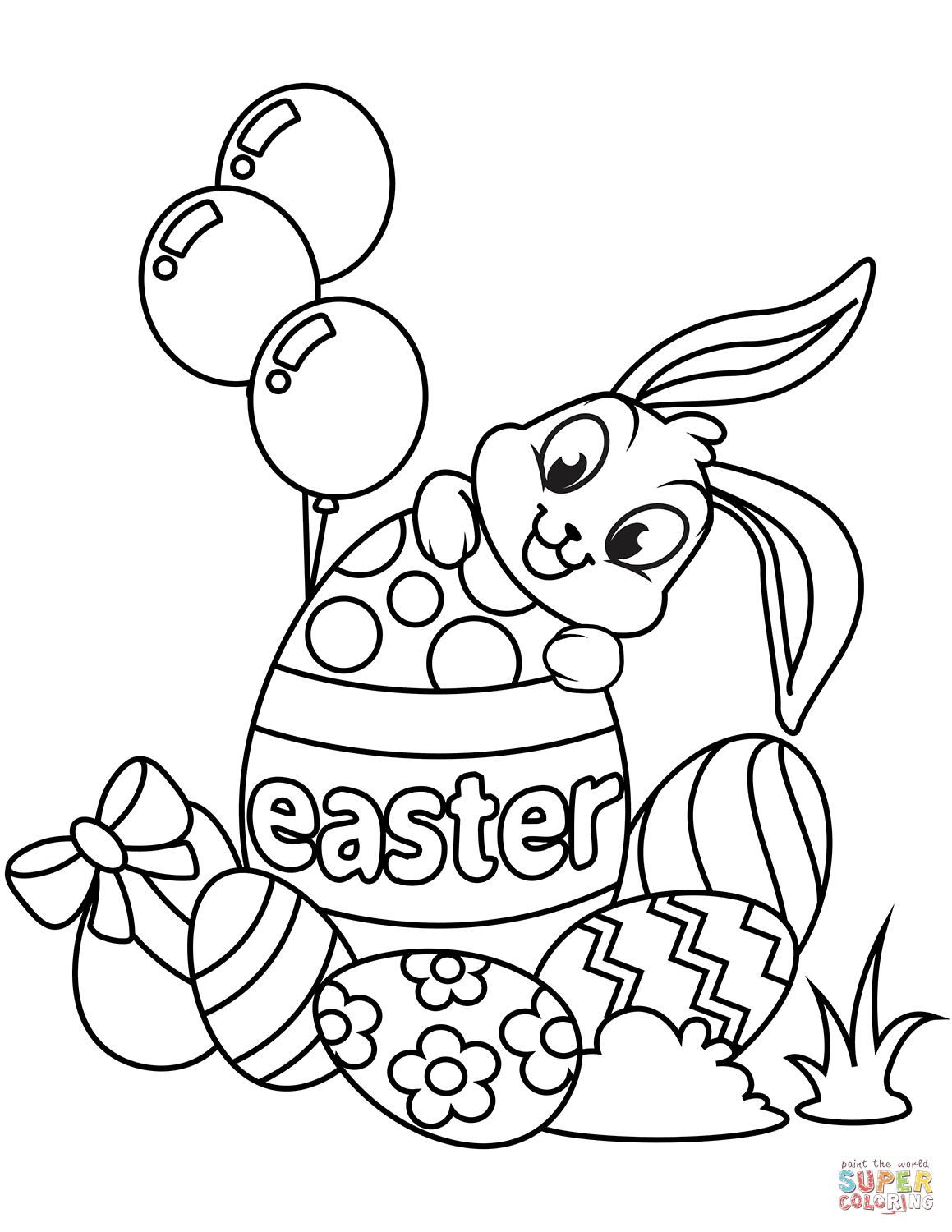 coloring easter bunnies cute easter bunny and eggs coloring page free printable bunnies easter coloring