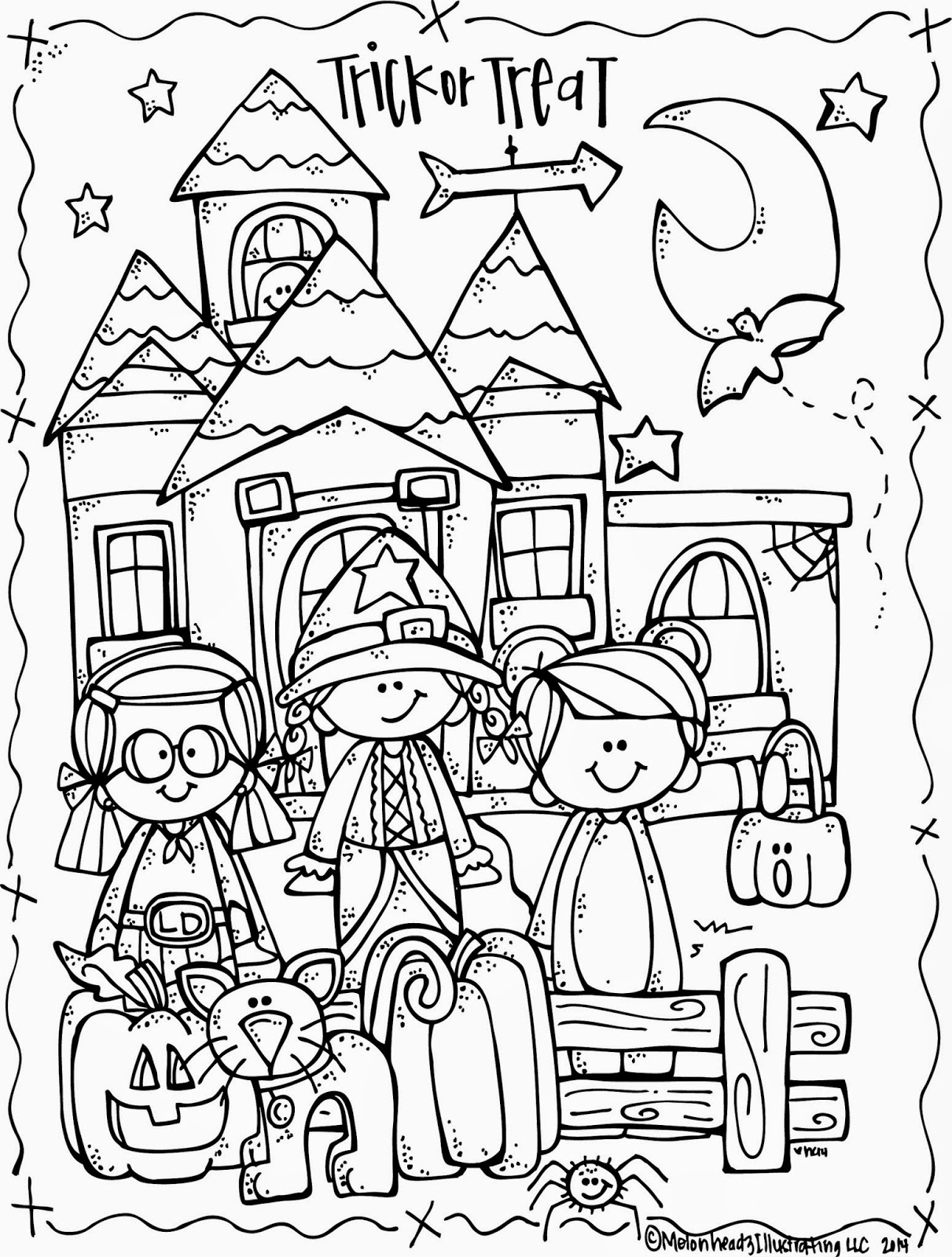 coloring halloween drawings melonheadz lucy doris halloween coloring page freebie drawings halloween coloring