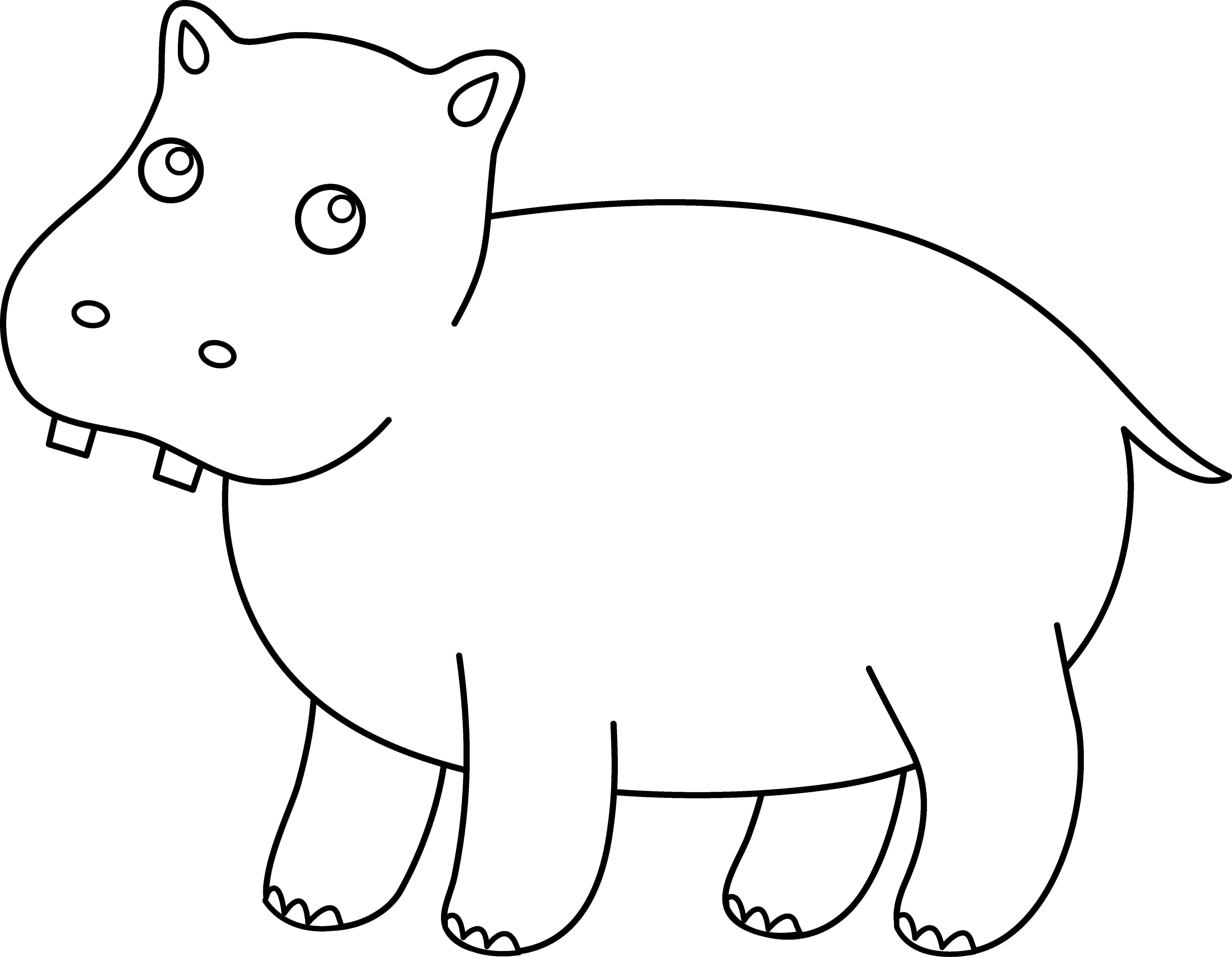 Coloring hippo clipart