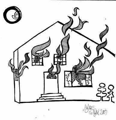 coloring house on fire drawing cartoon burning house coloring fire house on drawing